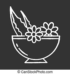 Leaves in bowl chalk white icon on black background. Medicinal herbs and flowers in mortar. Botanical ingredients for organic cosmetology. Dermatology. Isolated vector chalkboard illustration
