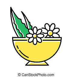 Leaves in bowl color icon. Medicinal herbs and flowers in mortar. Botanical ingredients for organic cosmetology. Natural skincare. Healthy plant mix. Dermatology. Isolated vector illustration