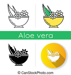 Leaves in bowl icon. Medicinal herbs and flowers in mortar. Botanical ingredients for organic cosmetology. Natural skincare. Linear black and RGB color styles. Isolated vector illustrations