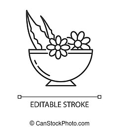 Leaves in bowl pixel perfect linear icon. Medicinal herbs and flowers in mortar. Thin line customizable illustration. Contour symbol. Vector isolated outline drawing. Editable stroke