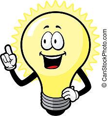 A cartoon light bulb with an idea.