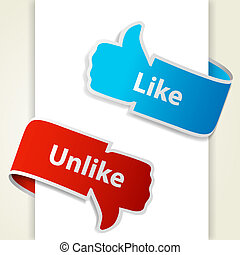 Like and unlike icons. Thumb up and thumb down signs for blogs and websites. Vector eps10 illustration