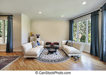 Living room in luxury home with outside view