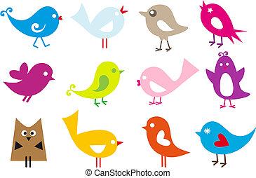 set of cute vector birds
