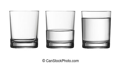 low empty, half and full of water glass isolated on white with clipping path included