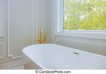 Luxurious with designer private with large soaking tub installing custom in bathroom