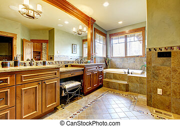 Luxury master bathroom with lots of space.