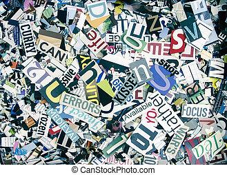 magazine confetti background random letters and words