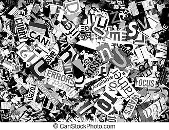magazine confetti background random letters and words monochrome
