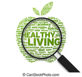Magnified Apple with the words Healthy Living on white background.
