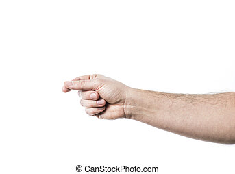 Male hand holding virtual card. Isolated on white background.