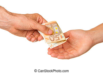 Man giving 50 euro to a woman