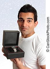 Man holding box product