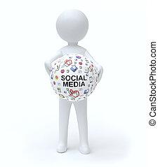 Man holding Social media icon