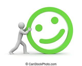 Man rolls smiling face