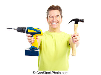 Handsome man with cordless drill and hammer. Isolated over white background