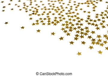 Many golden stars, isolated on white background