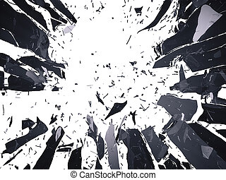 Many pieces of shattered glass isolated over white background. Large resolution