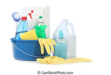 Many Useful Household Daily Cleaning Products on White Background