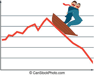 Two terrified businessman in a boat going down with a market trend, vector illustration