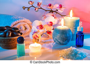 massage and aromatherapy - oil scented, salt, candles, orchid