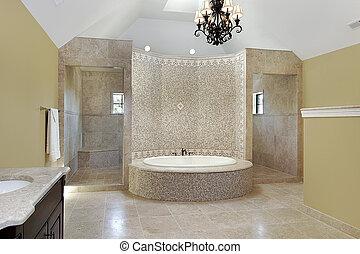 Master bath with circular bath