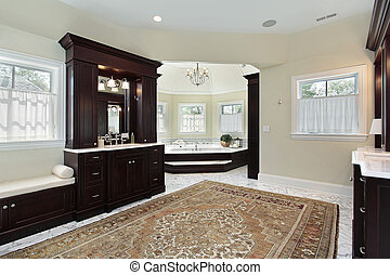 Master bath with separate tub area