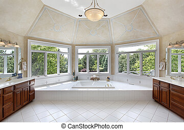 Master bath with windowed tub area