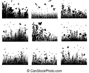 Vector grass silhouettes backgrounds set. All objects are separated.