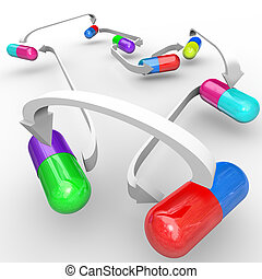 Several different colored capsules and pills are connected with arrows to show interactions of medicines taken together and possible side effects