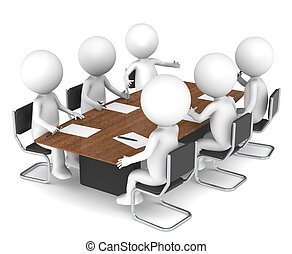 3D little human characters X6 in the meeting room. Business People series: Classic