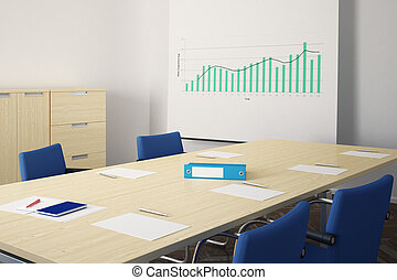 Meeting room with blue chairs and flipchart in background