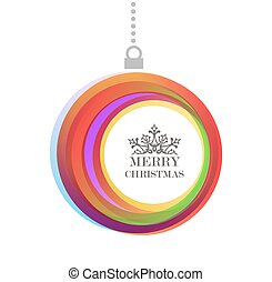 Merry Christmas bauble color text background