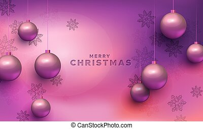 Merry christmas card ultraviolet bauble ornaments