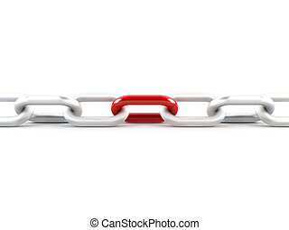 3D rendering of a metal chain with one red link