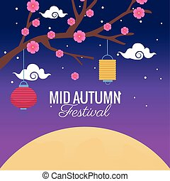 mid autumn festival celebration with flowers tree and lanterns hanging