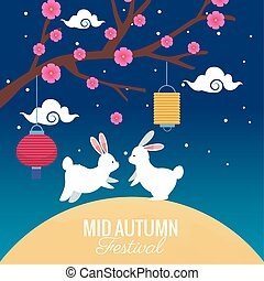 mid autumn festival celebration with flowers tree and rabbits
