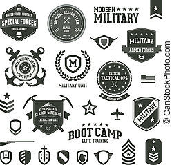 Set of military and armed forces badges and labels