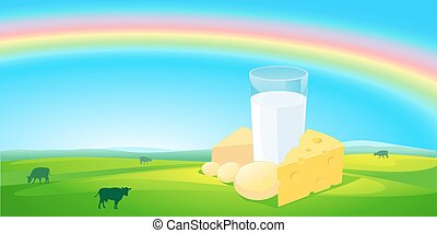 milk products with rainbow natural