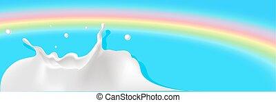milk splash with rainbow background