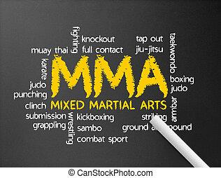 Dark chalkboard with the word MMA illustration.