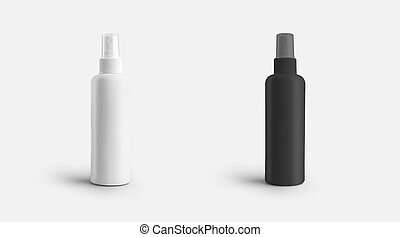 Mockup of a white, black jar jar with a lid for perfume, antiseptic, aerosol bottle for presentation of design, pattern.