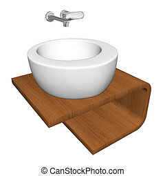 Modern bathroom sink set with ceramic or acrylic wash bowl, chrome fixtures, and wooden base, 3d illustration