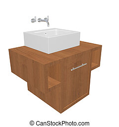 Modern bathroom sink set with ceramic wash basin, chrome fixtures, and wooden cabinet, 3d illustration, isolated against a white background