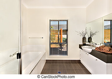 Modern bathroom with a water tub and bathing area opposite to the mirror