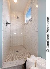 Modern blue fresh new bathroom shower
