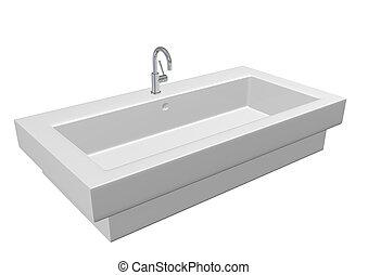 Modern ceramic white washroom sink set chrome fixtures, 3d illustration, isolated against a white background