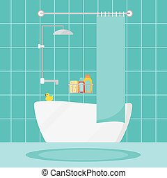 Modern cozy bathroom home interior scene vector illustration.