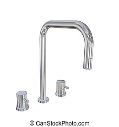 Modern faucet with chrome or stainless steel finishing, 3d illustration