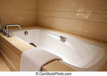 Modern luxury bathroom with bath tub